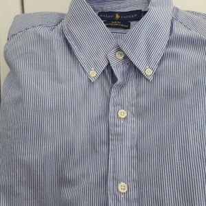 Blue pin striped long sleeve button down shirt